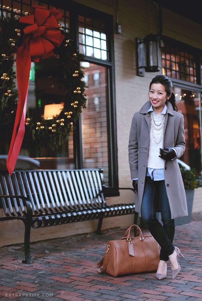 taupe coat duffel bag