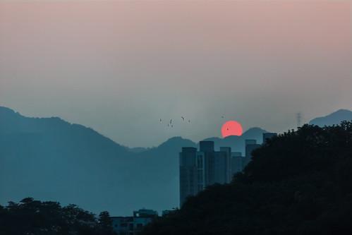life china old sunset sky urban sun mountains poem dusk story memory hazy chongqing landline