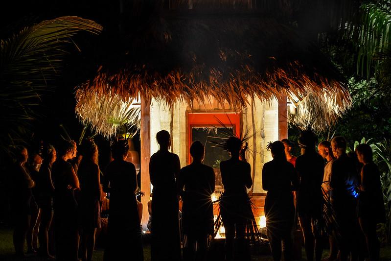 fire ritual at Blue Osa Temple