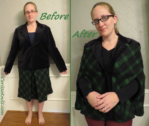 Green Plaid Cape Coat - Before & After
