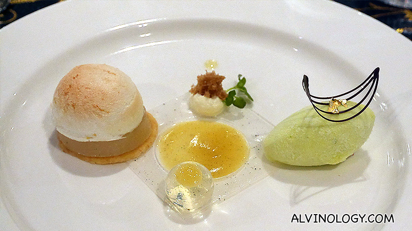 Dessert - Baked William Pear with Zesty Meringue, Fromage Blanc Yuzu Sorbet, Almond Sable