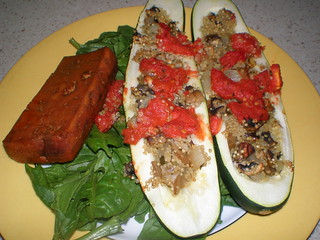 Zucchini Stuffed with Mushroom Quinoa in Tomato Coulis; Baked Tofu