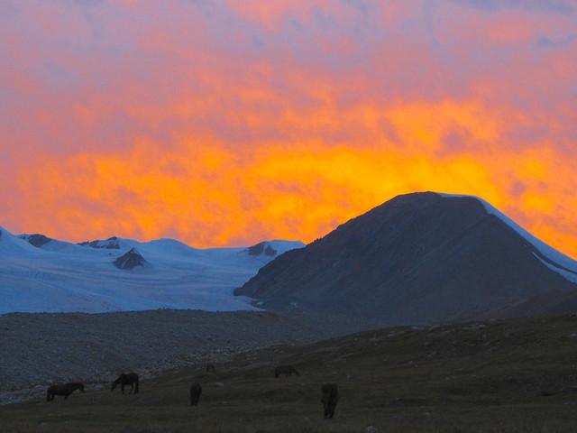 sunset, altai mountains, mongolia