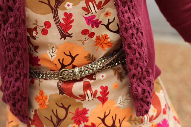 Fox and Autumn Leaf Print Dress with a Sparkly Belt