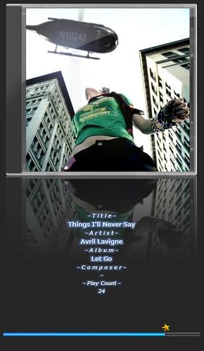 """Avril Lavigne-5 音楽再生ソフトウェアのfoobar2000のスクリーンショット画像。 """"Avril Lavigne"""" さんのアルバムである""""Let Go"""" の """"Things I'll Never Say"""" が再生されている。"""