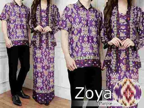 Kemeja Gamis Dress Batik Couple Zoya Ungu