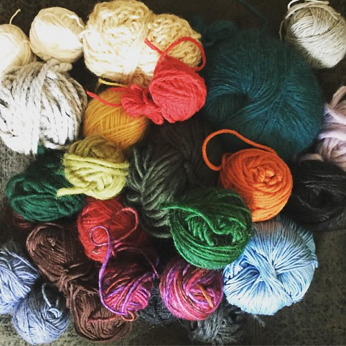 A rainbow of yarn. Each of these remnant balls has a story. I could tell you what I made, who I made it for, if I bought the yarn or if it was gifted. Where I was when I bought it, or was making the item. So much of my personal history is tied up in these