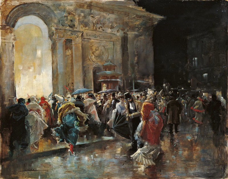 Eugenio Lucas Villaamil - Arriving at the Theatre on a Night of a Masked Ball (c.1895)