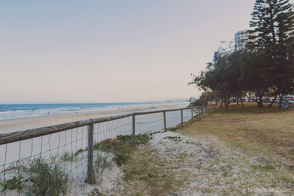The beach in Surfers Paradise