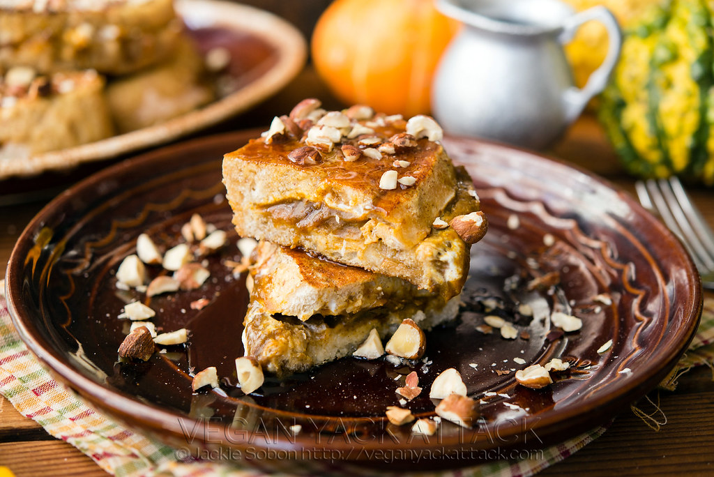 A comforting and deluxe version of a brunch favorite, this Pumpkin Cream Cheese-Stuffed French Toast is sure to please! #Vegan