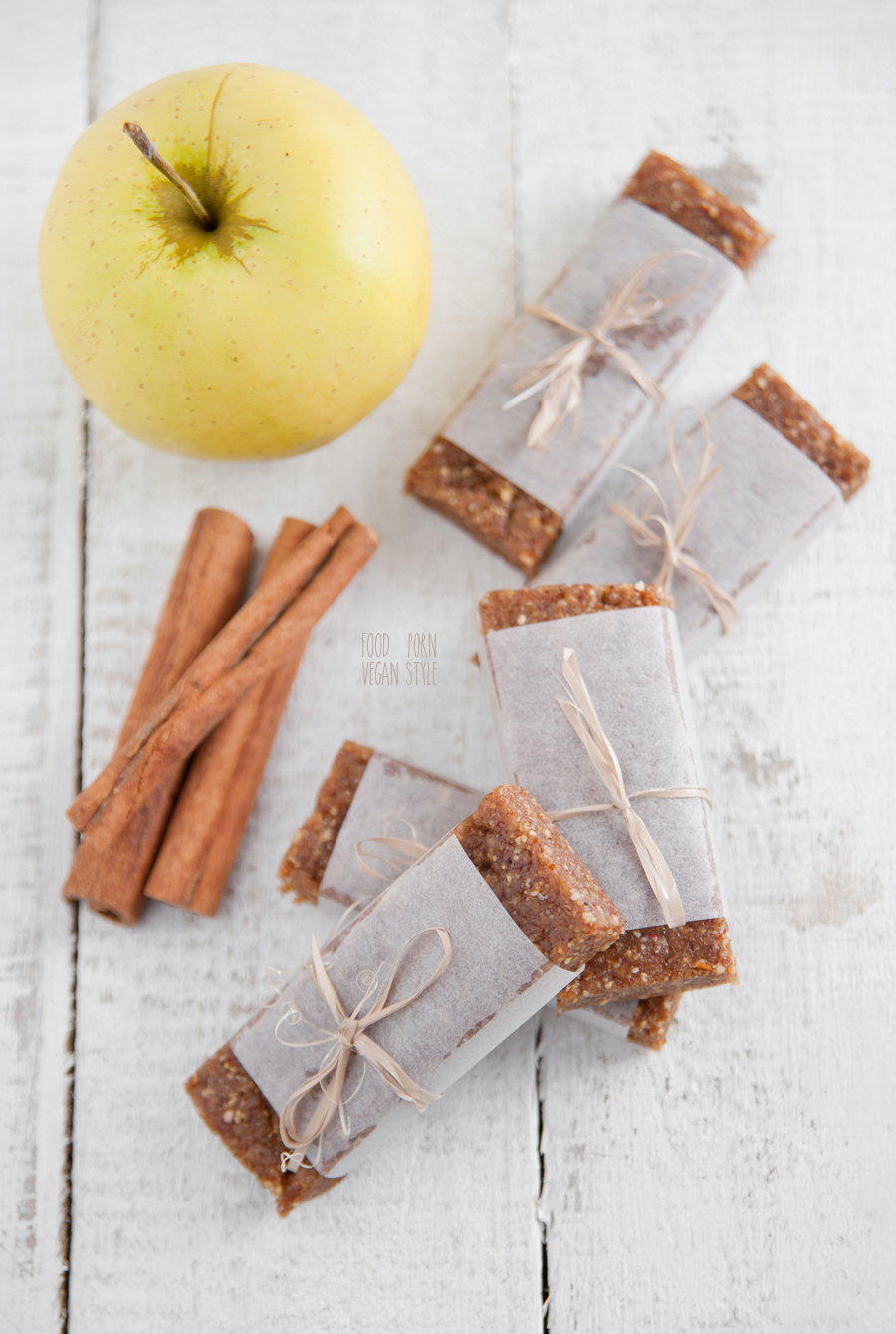 Homemade vegan energy bars, apple with cinnamon