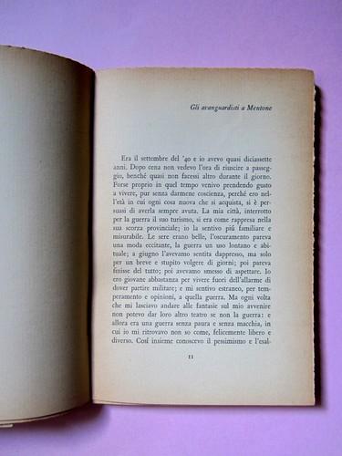 L'entrata in guerra, di Italo Calvino. Einaudi 1954. [Progetto grafico di Albe Steiner]. Incipit del racconto: l'indicazione del titolo è in alto a destra, a pag. 11 (part.), 1
