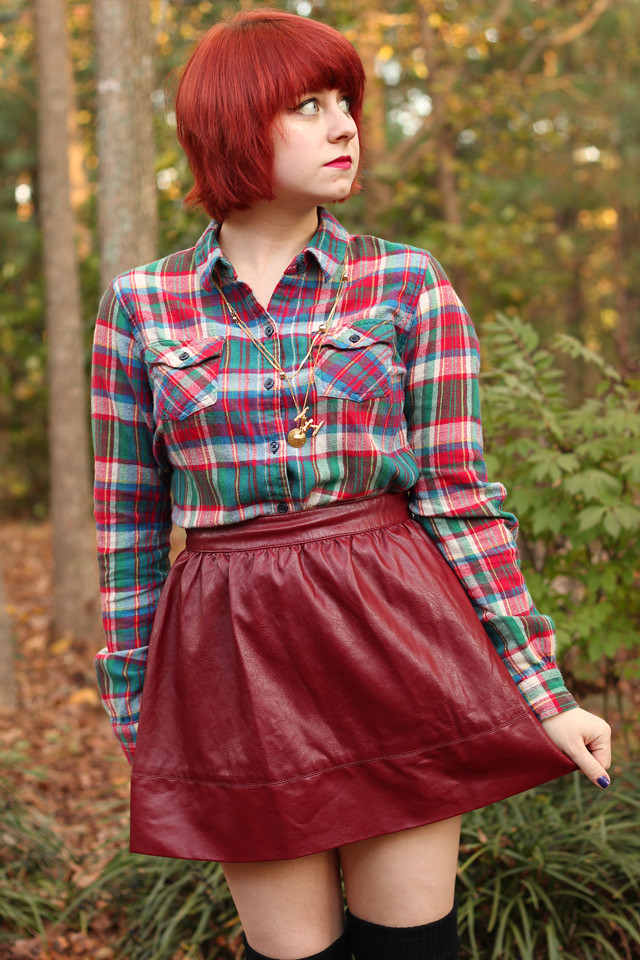 Short Red Hair, Flannel Shirt, and an Oxblood Leather Skirt