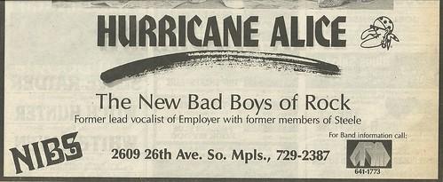 09/26-27/86 Hurricane Alice @ Nibs, Minneapolis, MN (Ad-Bottom)