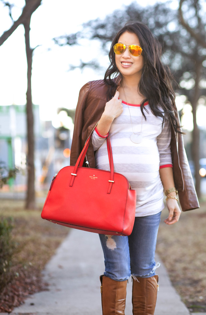 http://cuteandlittle.com | petite fashion blog | cognac leather bomber jacket, motherhood maternity striped ruched tunic, steve madden rikki high-heeled knee-high boots, kate spade bag | fall outfit