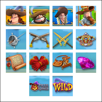 free The Three Musketeers and the Queen's Diamond slot game symbols