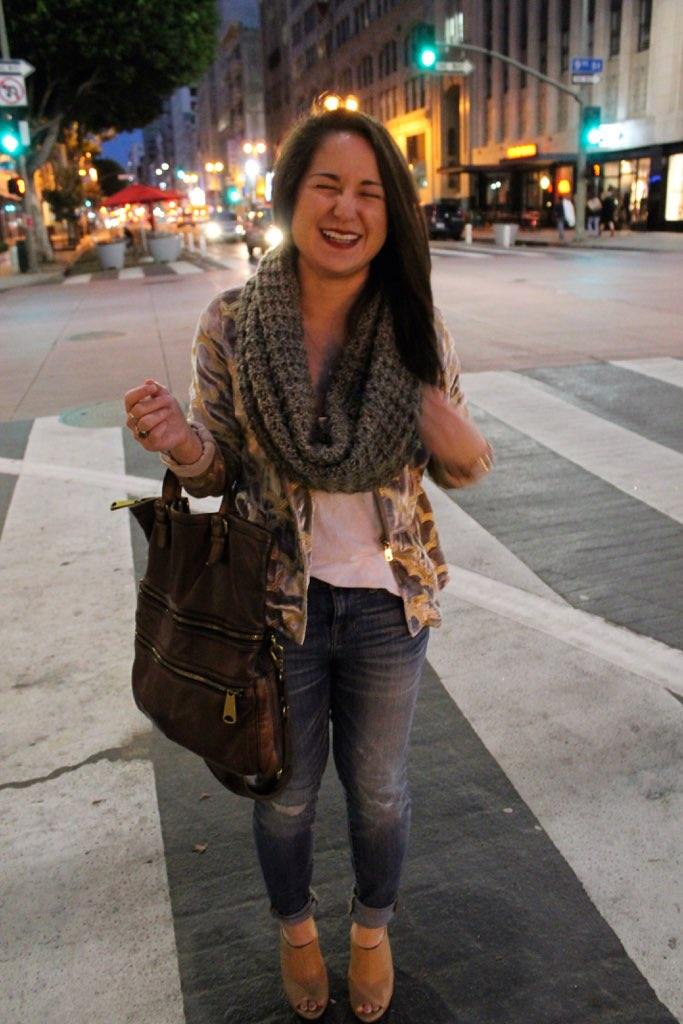dressed up denim: velvet jacket + nude heels