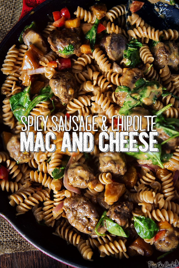 Spicy Sausage & Chipolte Mac and Cheese | GirlCarnivore.com