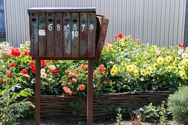 Retro letter box in a local street, Suzdal, Russia スズダリ、村の味のある郵便受け
