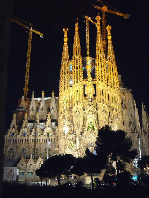 Spain Barcelona La Sagrada Familia full view
