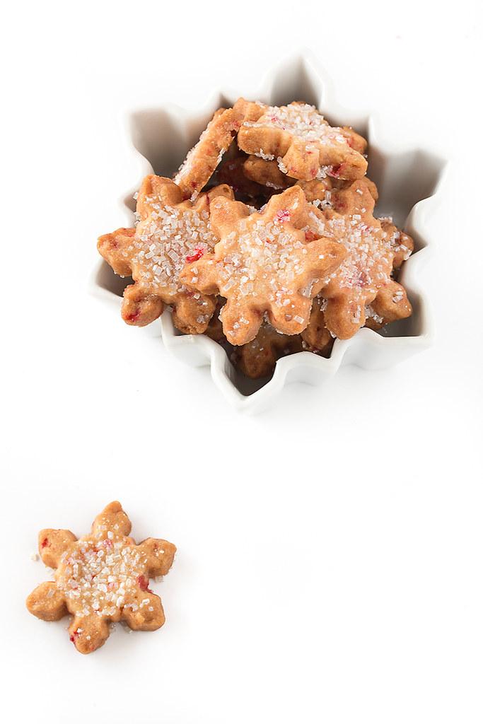 Peppermint Snowflake Shortbread Cookies
