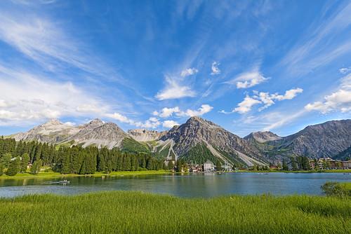 trees houses sky plants lake mountains clouds landscape switzerland nikon village wideangle arosa d800