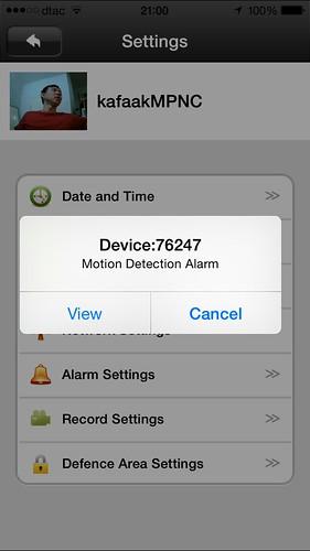 การแจ้งเตือนจากกล้อง MPNC มาที่สมาร์ทโฟน