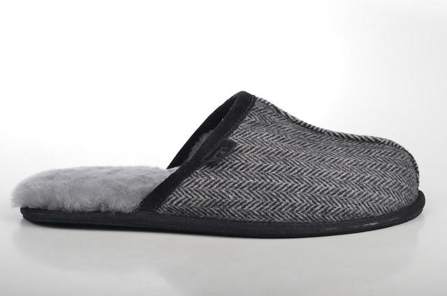 ugg australia scuff harringbone pantoffeln lammfell gef ttert 1003573 schwarz grau 2. Black Bedroom Furniture Sets. Home Design Ideas