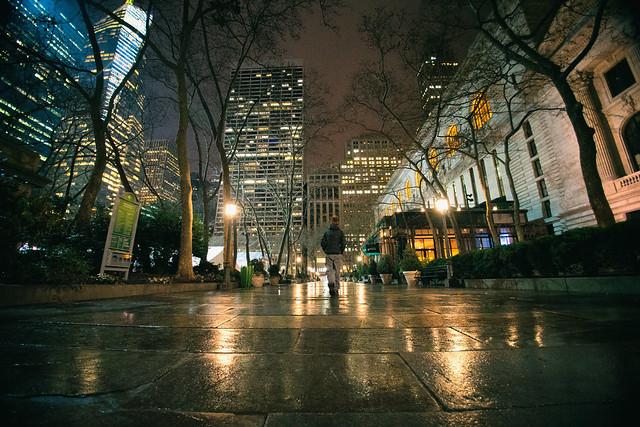 New York City At Night Bryant Park In The Rain Poem
