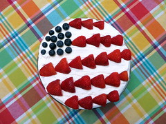 American Flag Trifle on a Colorful Tablecloth