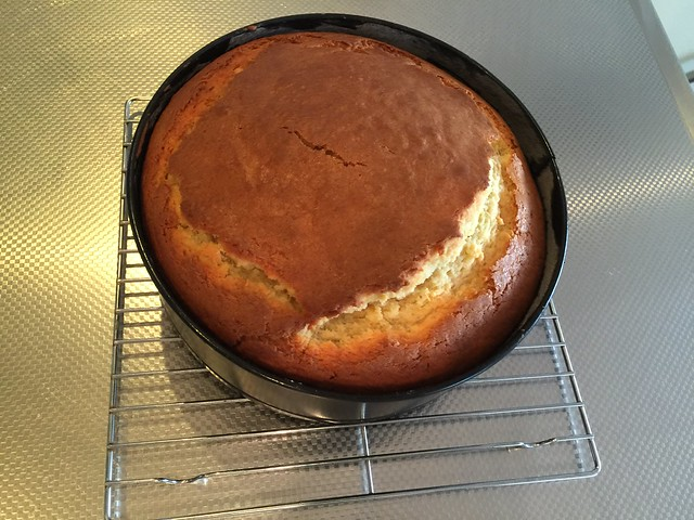 Cooked cake showing epic crack
