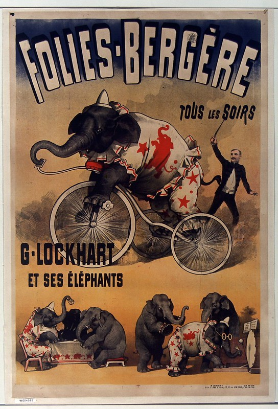 19th cent. french music-hall poster - an elephant act