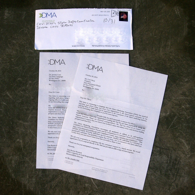 Letters from the DMA to Carl Olson and Jerome Corsi