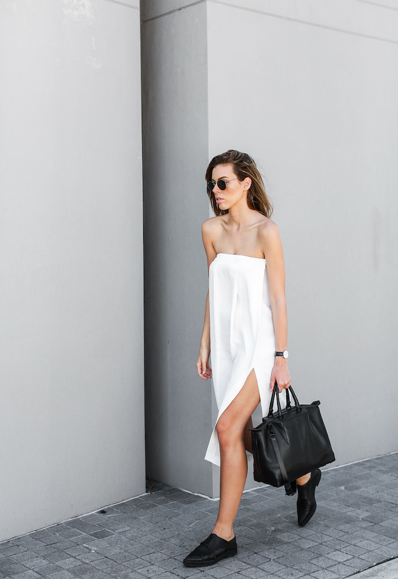 modern legacy fashion blog white strapless dress street style brogues oxfords Helmut Lang Alexander Wang Saba diy black white (6 of 6)