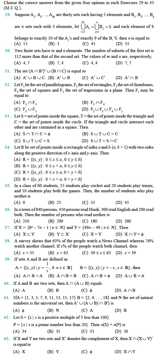 Class 11 Important Questions For Maths Sets Aglasem