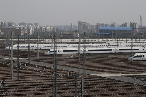 China Railways high speed trains stabled outside Shanghai Hongqiao railway station