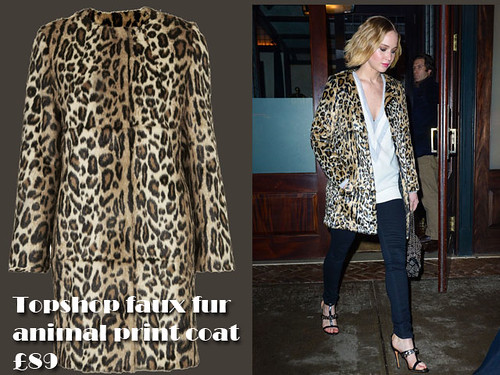 Jennifer Lawrence in a Topshop faux fur animal print coat,  baseball jumper & jeans: How to wear