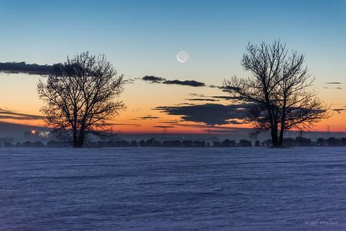 winter sunrise alberta earthshine 2014 namao