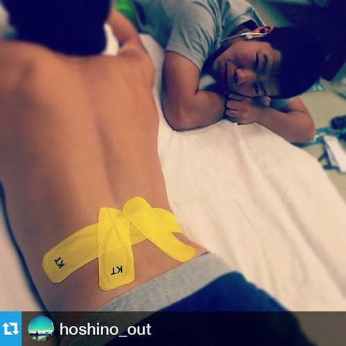 Back pain? No worries - #kttape's got your back. Thx for the frat photo @hoshino_out!