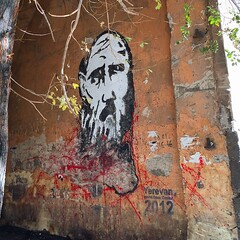 Can someone tell me who is this guy painted on the wall? It looks like #Rasputin to me. I found it at #Pushkin #street #Yerevan center #Armenia #curious case