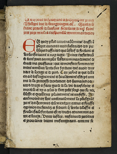 Heading printed in red in Franc, Martin: L'estrif de fortune et vertu