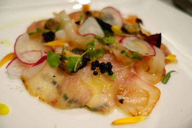 Roomali Red Snapper Chaat: Carpaccio of red snapper with tangy chilli & lemon dressing. Tony Bilson & Suri collaboration at Tandoor. 2014