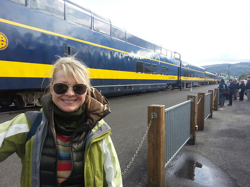 Katie Armstrong prepares to board the Glacier Discovery Train operated in partnership by the U.S. Forest Service and the Alaska Railroad. (Courtesy Katie Armstrong)