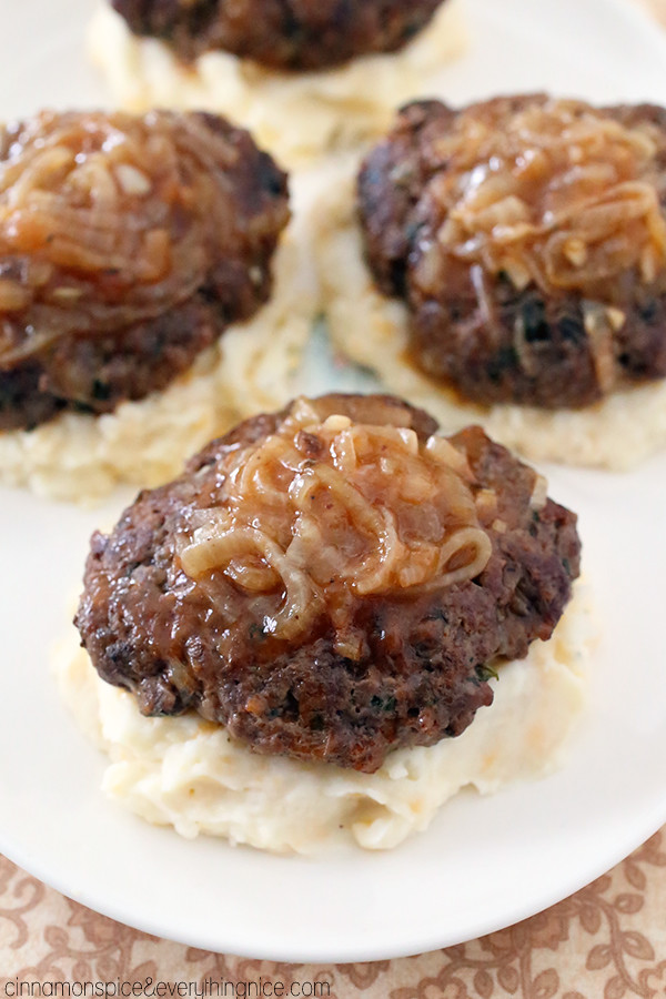 Salisbury Steaks with Cheddar Mashed Potatoes