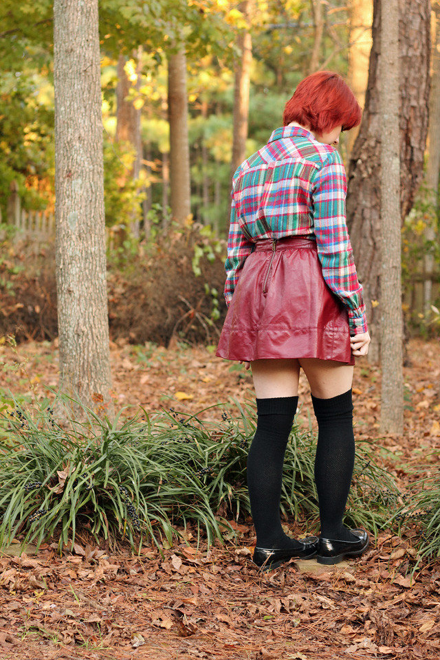Plaid Flannel Shirt, Maroon Leather Skirt, Knee Socks, and Loafers