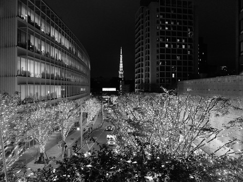 FUJIFILM X30 night scene illumination SNOW&BLUE Film Simulation Monochrome Y filter