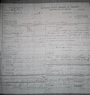 Otis Guernsey death certificate