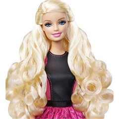 brown hair(0.0), hairstyle(1.0), clothing(1.0), hair(1.0), long hair(1.0), blond(1.0), costume(1.0), wig(1.0), doll(1.0), barbie(1.0), toy(1.0),