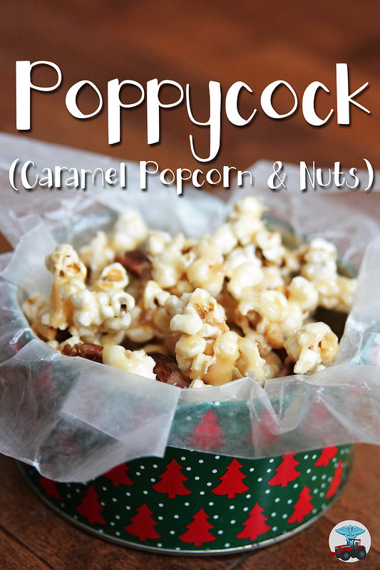 Poppycock - a classic Christmas treat! Caramel popcorn with nuts is great to have around during the holidays and makes a great gift too.
