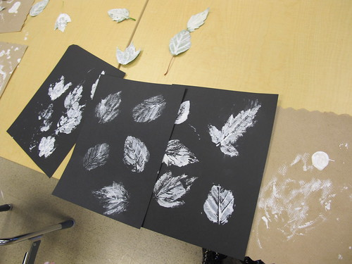 Printed Leaves with Pastel Echo Lines